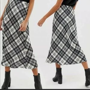 ASOS Midi Skirt Check Plaid New Look Silky Satiny